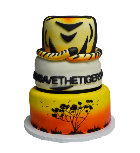 3 tier tiger cake with african sunset for we can see the tiger by Sugar Street Boutique