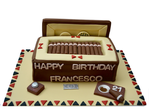 Brown cigar box cake with fondant car ashtray and fondant humidifier by sugar street boutique toronto cakes