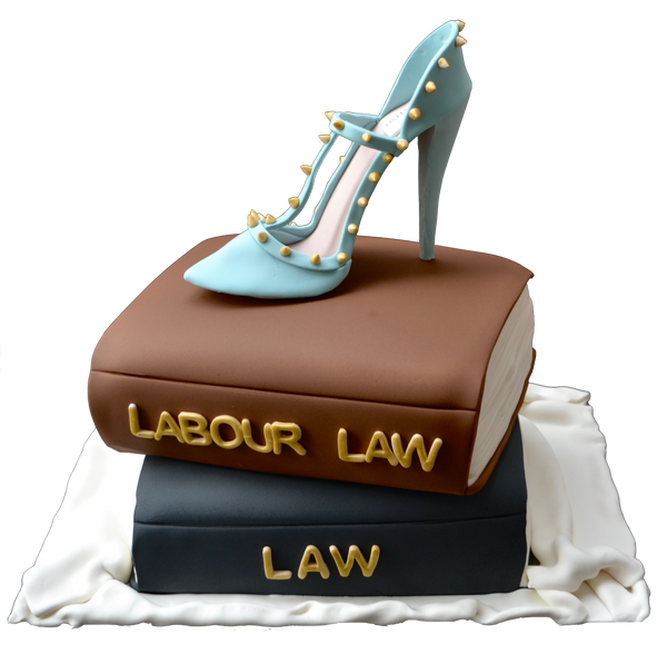 Law book cake. labour and employment law cake. edible valentino shoe. stacked books cake. sugar street boutique. toronto cakes.