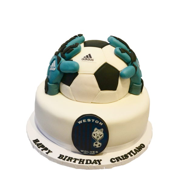 Soccer Keeper Chocolate cake by sugar street boutique Toronto cakes. Soccer ball cake with keeper gloves.