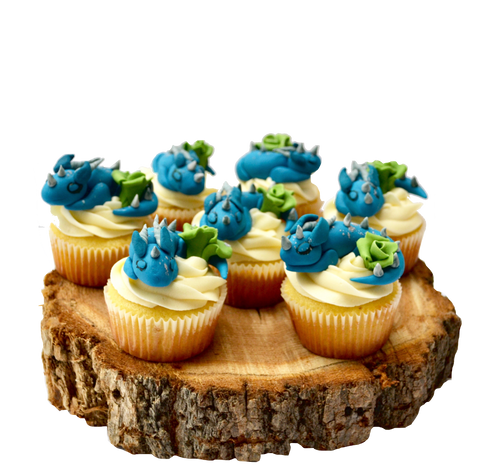 Vanilla cupcakes with fondant edible dragons by sugar street boutique toronto