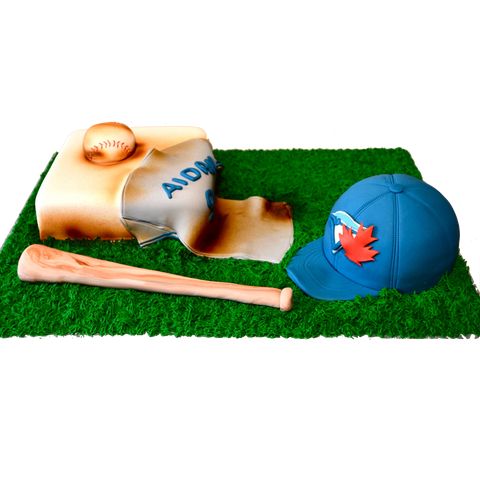 blue jays baseball chocolate cake by Sugar Street Boutique. Toronto Cakes. Baseball bat cake.blue jays hat cake. baseball cake.