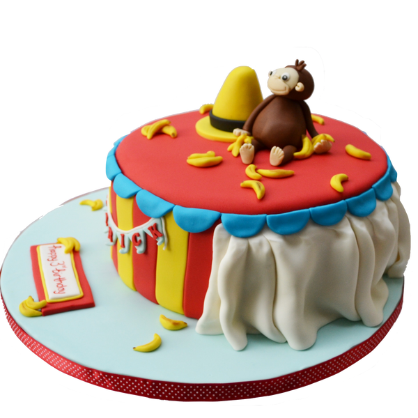 curious george book. curious george cake. birthday cake. sugar street boutique. toronto cakes. adorable curios george cake. circus cake.