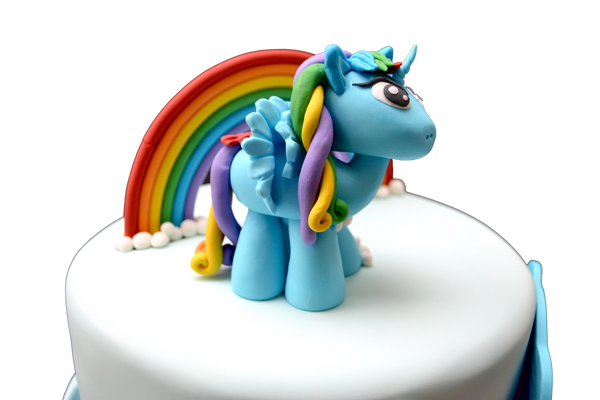 My Little Pony Cake. A rich and super moist 3 layer chocolate cake with chocolate icing in between layers. Edible my little pony. Sugar Street Boutique. Toronto Cakes. Rainbow Cake.