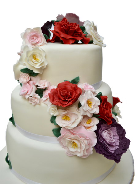 WRAPAROUND FLOWERS ON 3 TIER WEDDING CAKE. PEONIES WEDDING CAKE. ROSES CAKE. 3 TIER CAKE. TORONTO WEDDING CAKES. SUGAR STREET BOUTIQUE TORONTO. VINEYARD WEDDING CAKE. RED PINK AND PURPLE CAKE. FLOWERS CAKE.