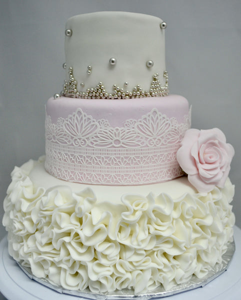how to make a fondant ruffle wedding cake ruffle silver cake sugar boutique 15813