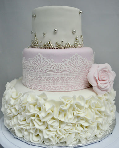 3 Tier Wedding Cake decorated with edible lace, silver pearls & ruffles, covered with fondant by Sugar Street Boutique Toronto