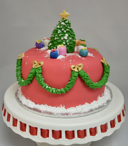 Chocolate Christmas Tree Cake decorated and covered with fondant by Sugar Street Boutique Toronto