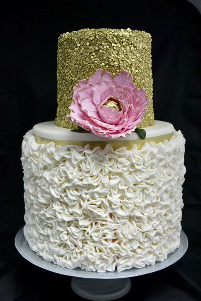 gold sequin and ruffles two tier wedding cake by Sugar Street Boutique Toronto