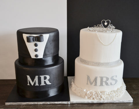 Mr. & Mrs. Wedding cake made by Sugar Street Boutique. His and hers cake, bride and groom wedding cake. Toronto