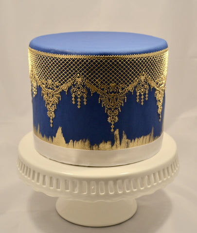 Royal blue and gold edible lace fondant cake by Sugar Street Boutique Toronto.