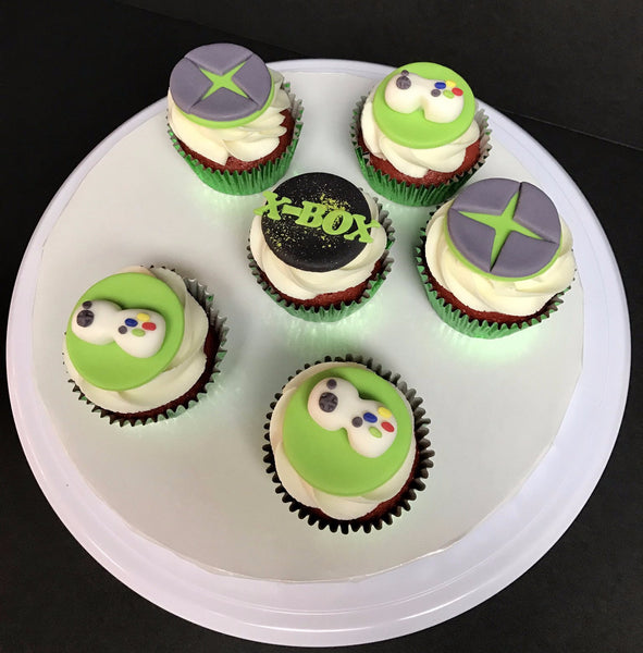 red velvet and cream cheese icing, xbox cupcakes by Sugar Street Boutique