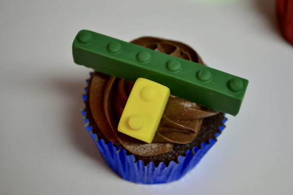 Lego chocolate cupcakes with chocolate icing by Sugar Street Boutique