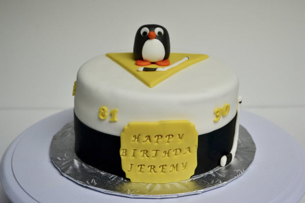 pittsburg penguins hockey team, red velvet cake decorated and covered with fondant by Sugar Street Boutique, Toronto.