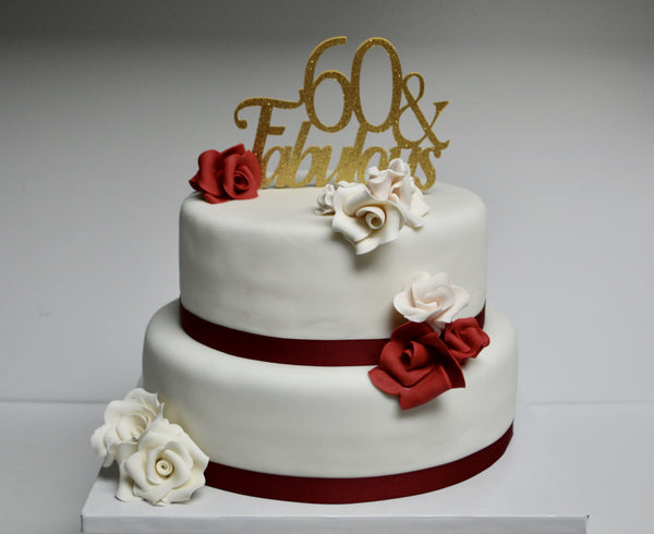 2 Tier 60th & Fabulous birthday vanilla & chocolate cake with white & red roses covered in fondant by sugar street boutique, toronto