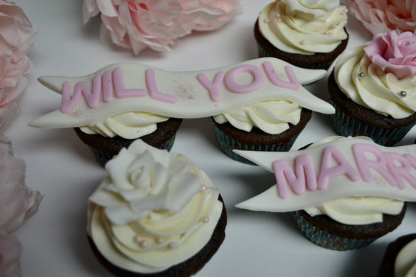 Proposal cupcakes, engagement cupcakes with edible roses and will you marry me banner by Sugar Street Boutique