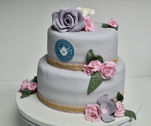 2 Tier soft grey pink and white cake covered in fondant and decorated with edible roses  by Sugar Street Boutique