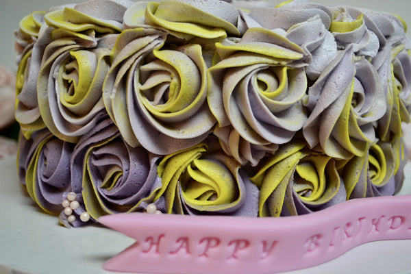 Lemon, Purple ombre with yellow rosette cake filled with lemon curd and lemon cream cheese icing by Sugar Street Boutique
