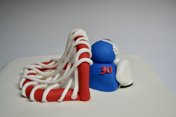 NY Rangers Hockey Goalie Cake with goalie net and goalie. Lundqvist Player NY Rangers goalie Cake by Sugar Street Boutique Toronto