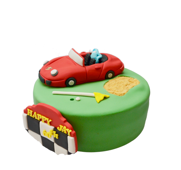 golf cake with a fondant red porsche and an edible golf sand trap by sugar street boutique toronto cakes