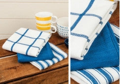 Butcher Stripe Cobalt 3 pack Tea Towels