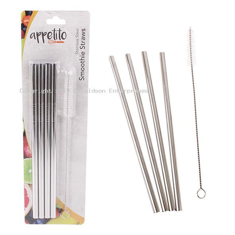 Stainless steel straw set 4  straight