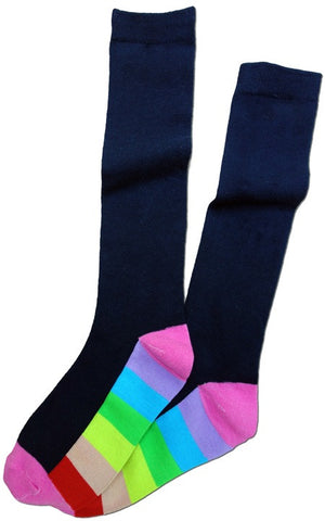 Rainbow Stripe Sole Knee Sock -- Navy