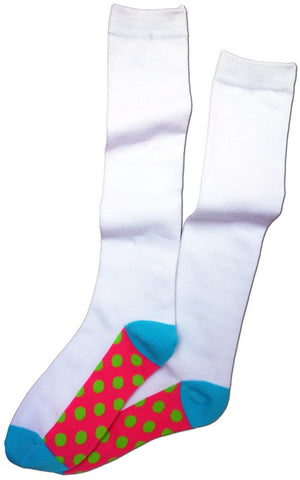 Polka Dot Sole Knee Sock -- White