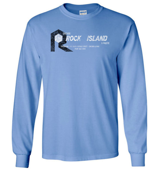 Rock Island Railroad Long Sleeve T-Shirt - Blue (Adult/Youth)