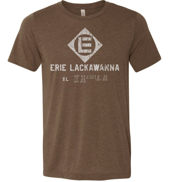 Erie Lackawanna Railroad Premium T-Shirt - Rolling Stock Brown (Adult Crew) - Ringaboy-