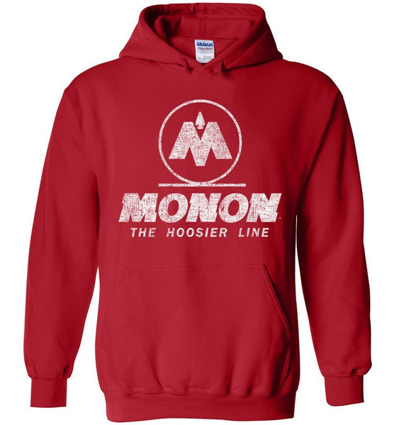 Monon Railroad Heavyweight Hoodie - Red (Adult/Youth) - Ringaboy LLC-