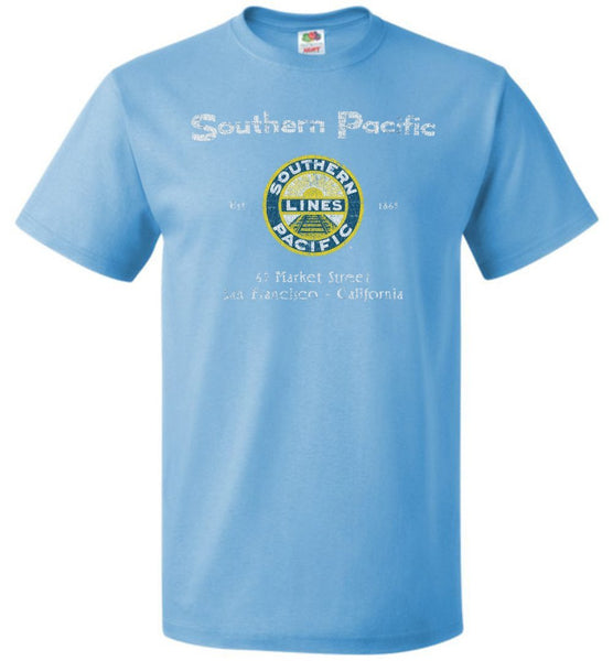 Southern Pacific Lines Railroad T-Shirt - Blue/Yellow Logo (Adult/Youth) - Ringaboy LLC-