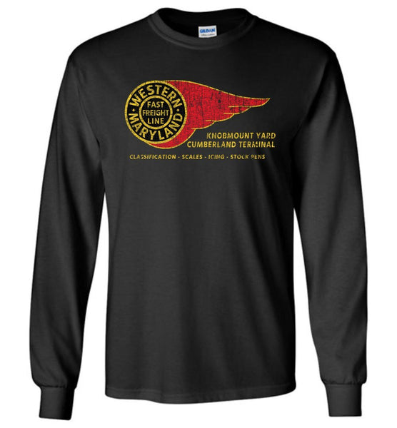 Western Maryland Railway Long Sleeve T-Shirt - Fireball (Adult/Youth) - Ringaboy LLC-