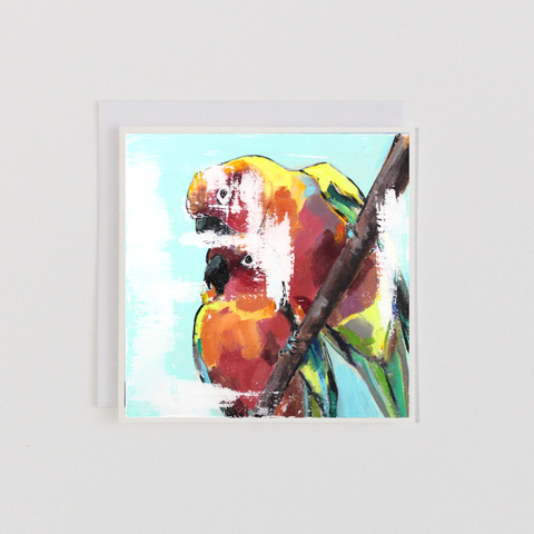 Parrots On A Branch Greeting Card