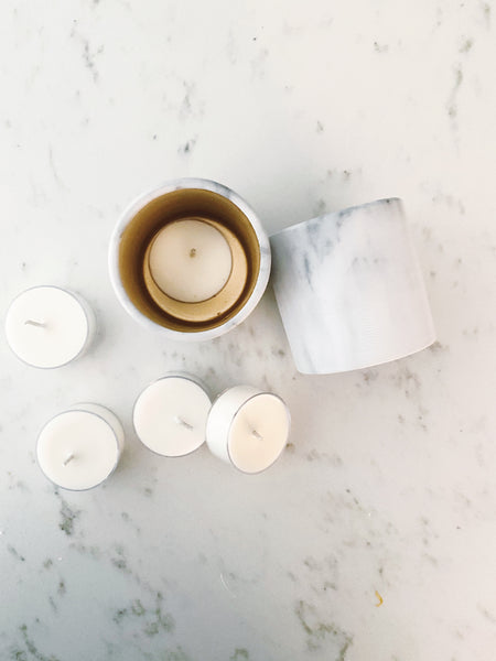 Faux Marble Tea Light Holder