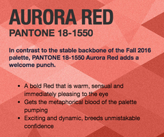 Aurora Red Pantone 2016 Fall Fashion Colors