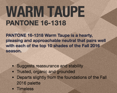 Warm Taupe Pantone 2016 Fall Fashion colors