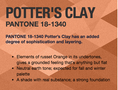 Potter's Clay Pantone 2016 Fall Fashion Colors