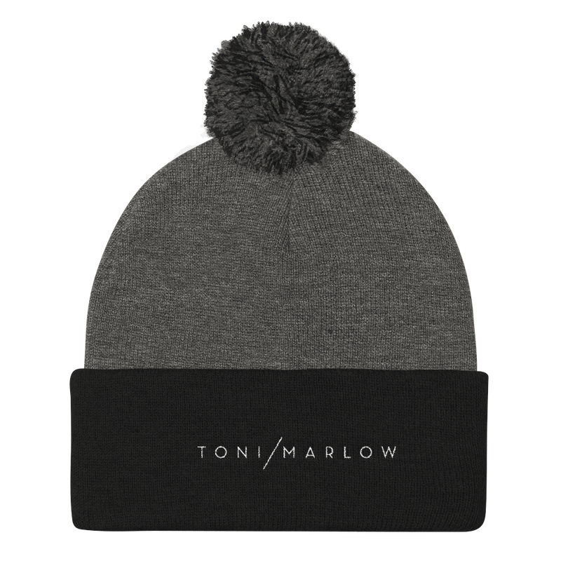 Toni Marlow Clothing Apparel Toni Marlow Pom Pom Knit Hat Dark Heather Grey/ Black