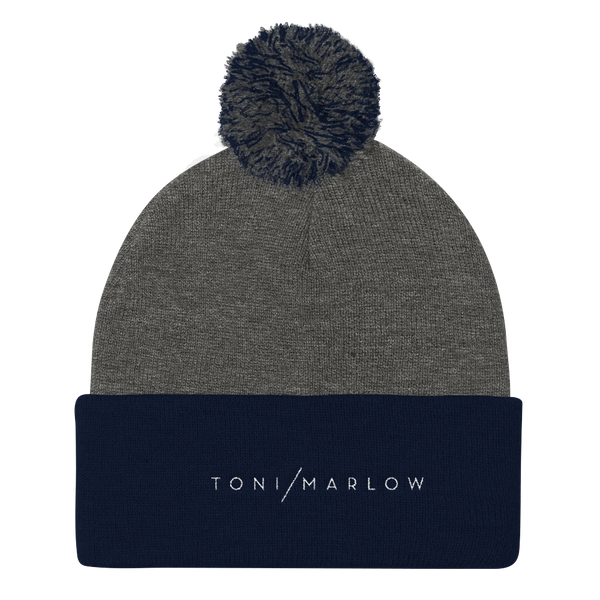 Toni Marlow Clothing Apparel Toni Marlow Pom Pom Knit Hat Dark Heather Grey/ Navy