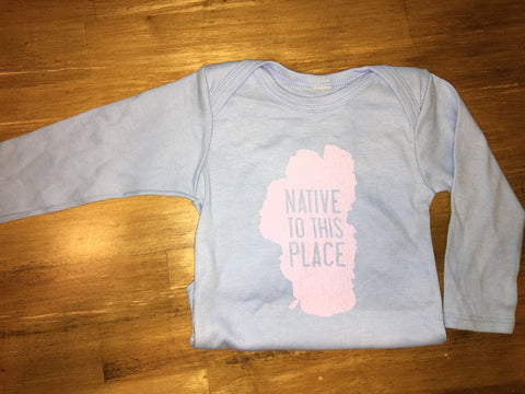 TahoeFab Native to this Place Distressed Long Sleeve Onesie