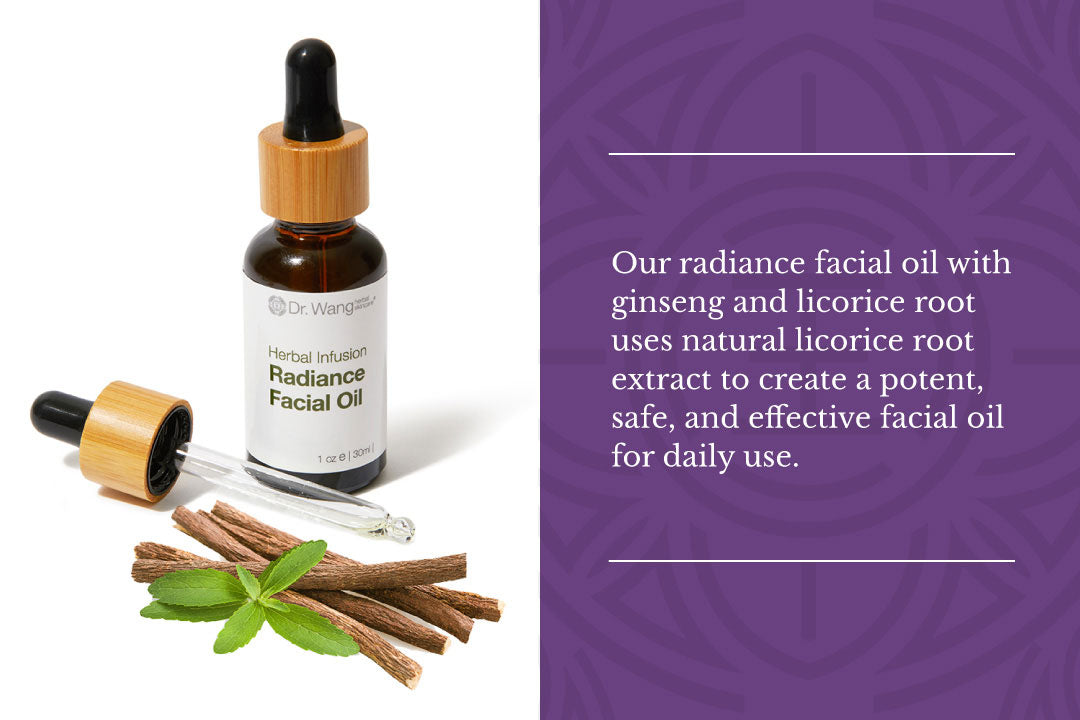 Our Radiance Facial Oil with Ginseng & Licorice Root uses natural licorice root extract to create a potent, safe, and effective facial oil for daily use.