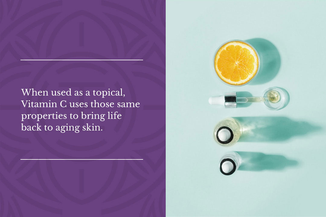 When used as a topical, vitamin C uses those same properties to bring life back to aging skin.