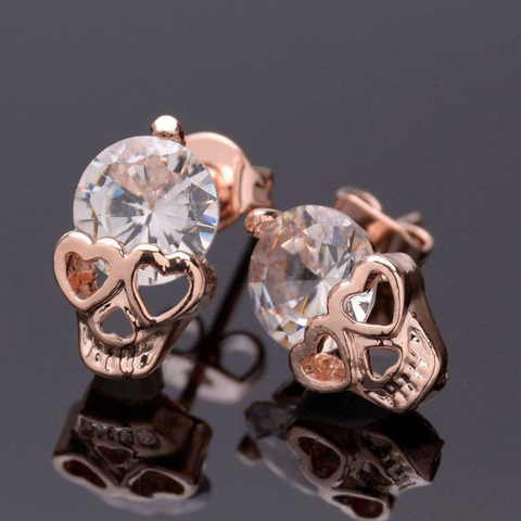FREE Rose Gold Cubic Zirconia Skull Stud Earrings! Available FREE For a Limited Time! - Nonpareil Jewelry  - 1