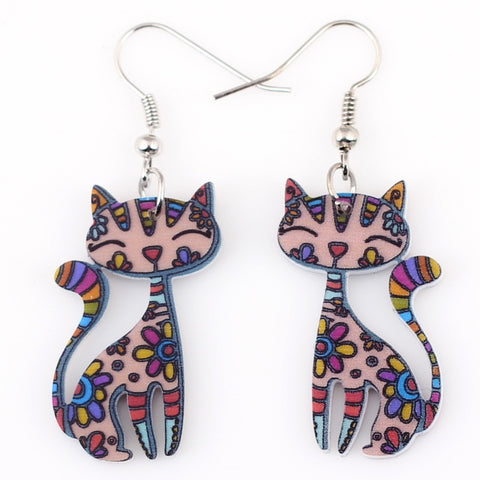 Drop Cat Colorful Stylish Earrings - Nonpareil Jewelry  - 1