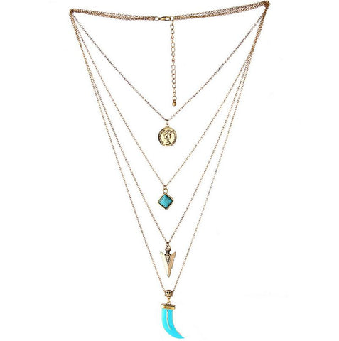 Retro Multilayer Bohemian Gold Plated Long Chain Turquoise Necklace - Nonpareil Jewelry  - 1