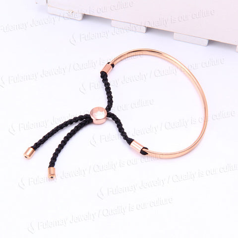 Fiji Friendship Charm Bracelet Rose Gold With Black Cord - Nonpareil Jewelry  - 1