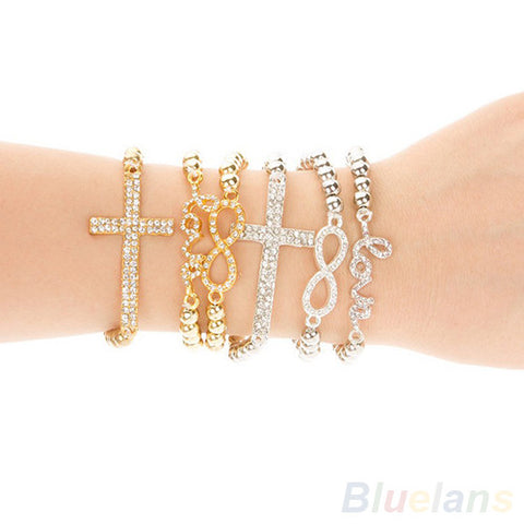 Crystal Cross Love Infinity Bracelet - Nonpareil Jewelry  - 1
