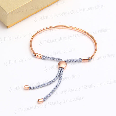 Fiji Friendship Charm Bracelet Rose Gold Plated Silver Cord - Nonpareil Jewelry  - 1