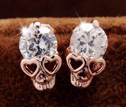 FREE Rose Gold Cubic Zirconia Skull Stud Earrings! Available FREE For a Limited Time!! - Nonpareil Jewelry  - 1